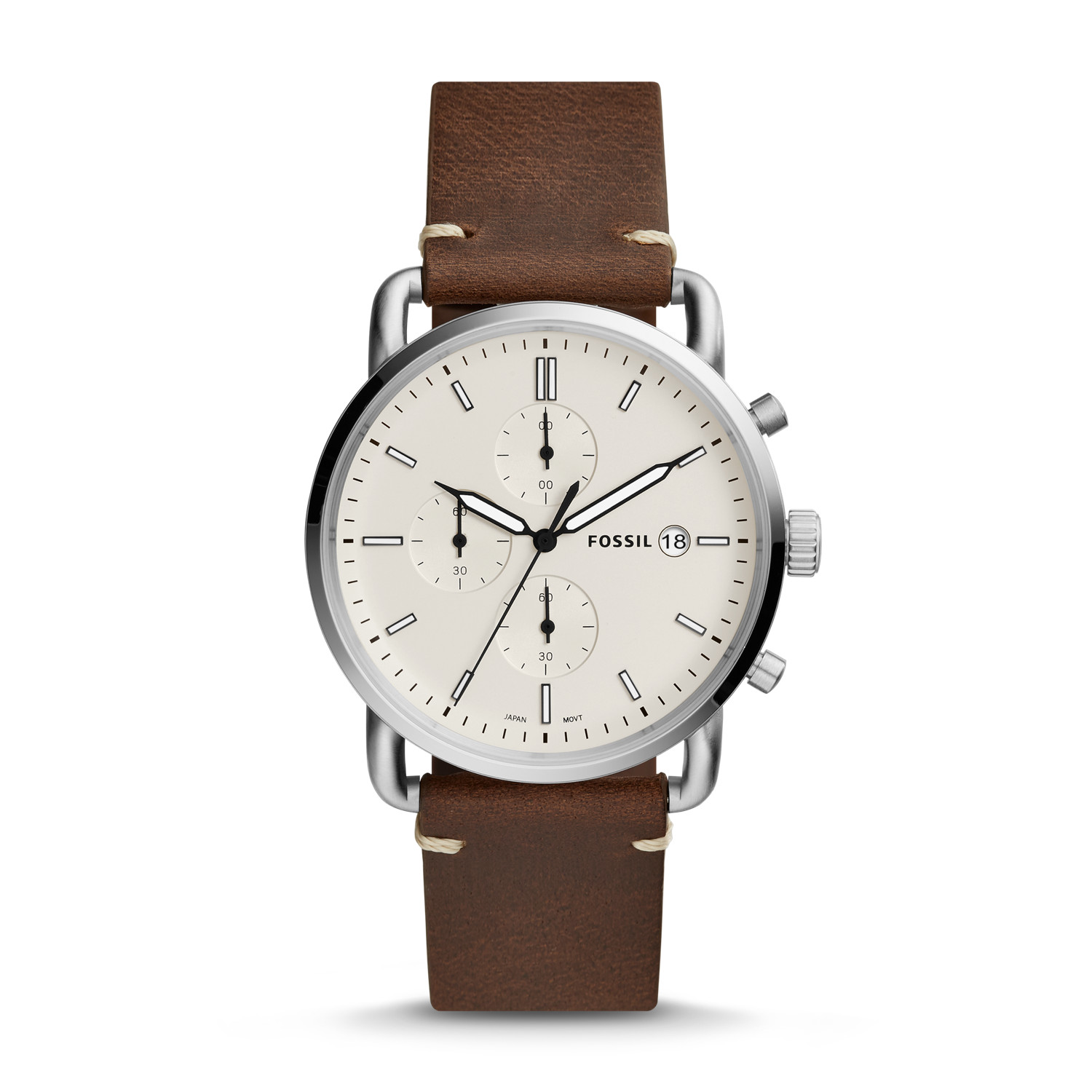 e2b69b9c5 The Commuter Chronograph Brown Leather Watch - Fossil