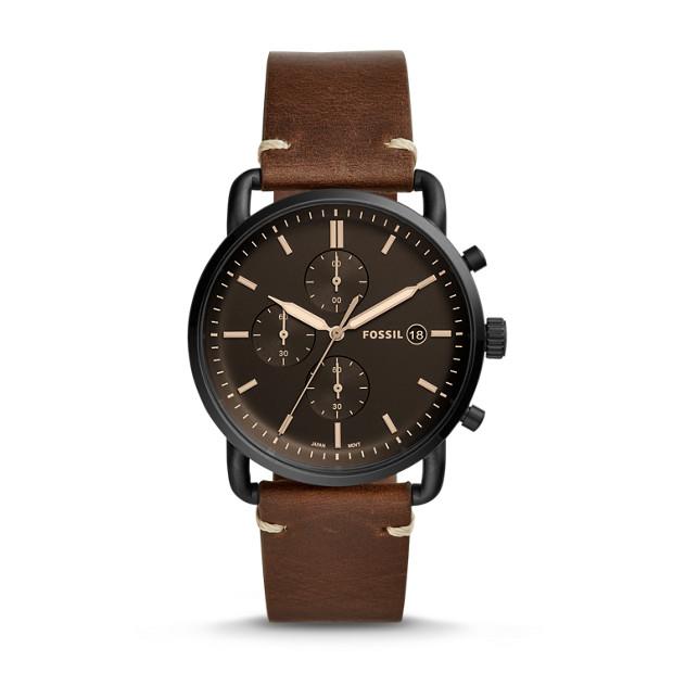 Fossil - Montre The Commuter chronographe en cuir brun - 1
