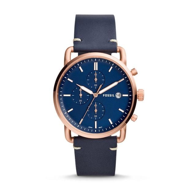Fossil - Montre The Commuter chronographe en cuir bleu marine - 1