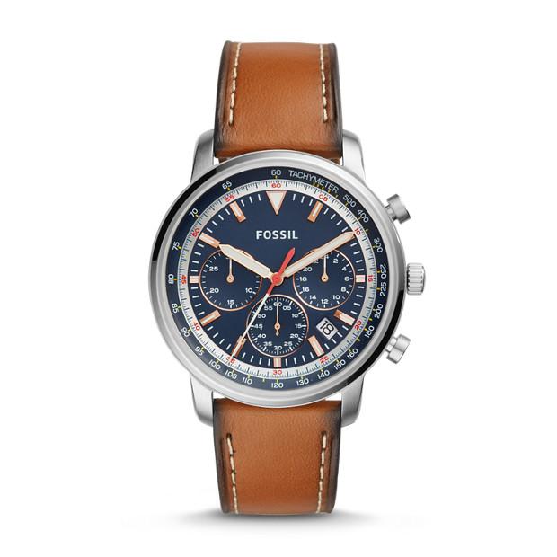 Fossil - Montre Goodwin chronographe en cuir brun clair - 1