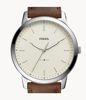 The Minimalist Three-Hand Brown Leather Watch