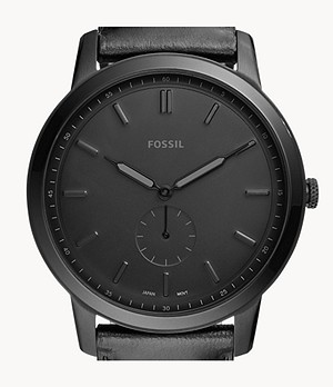 The Minimalist Two-Hand Black Leather Watch