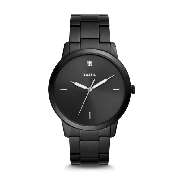 The Minimalist Three Hand Black Stainless Steel Watch by Fossil