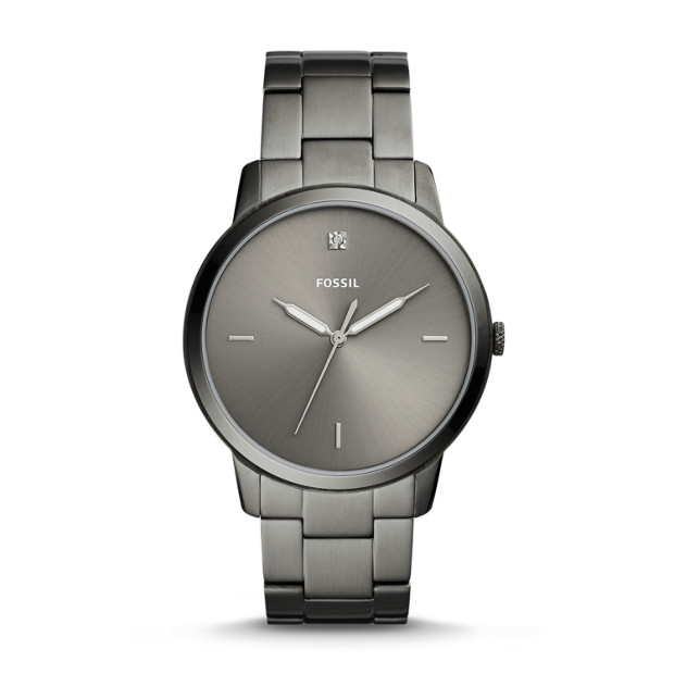 The Minimalist Carbon Series Three Hand Smoke Stainless Steel Watch by Fossil