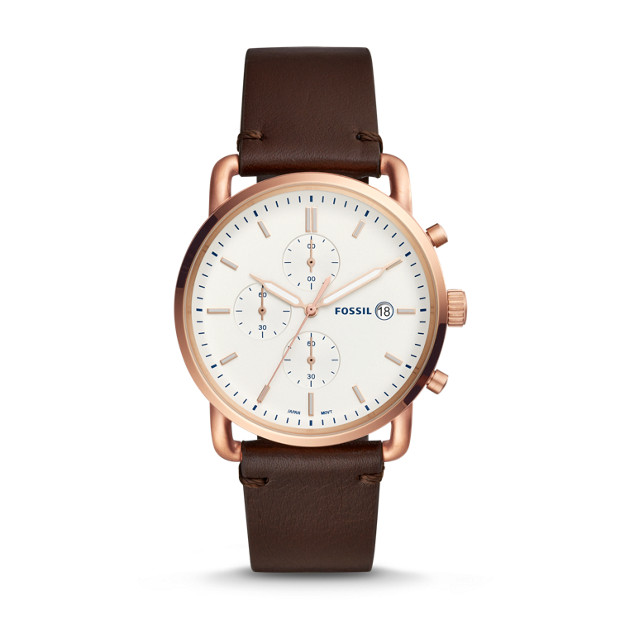 Commuter Chronograph Java Leather Watch by Fossil