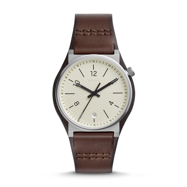 1520893e7 Barstow Three-Hand Brown Leather Watch - Fossil