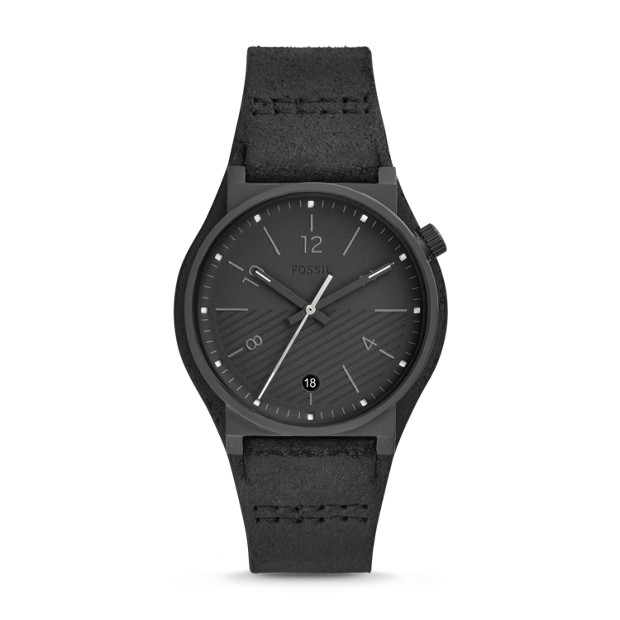 90857a468 Barstow Three-Hand Black Leather Watch - Fossil