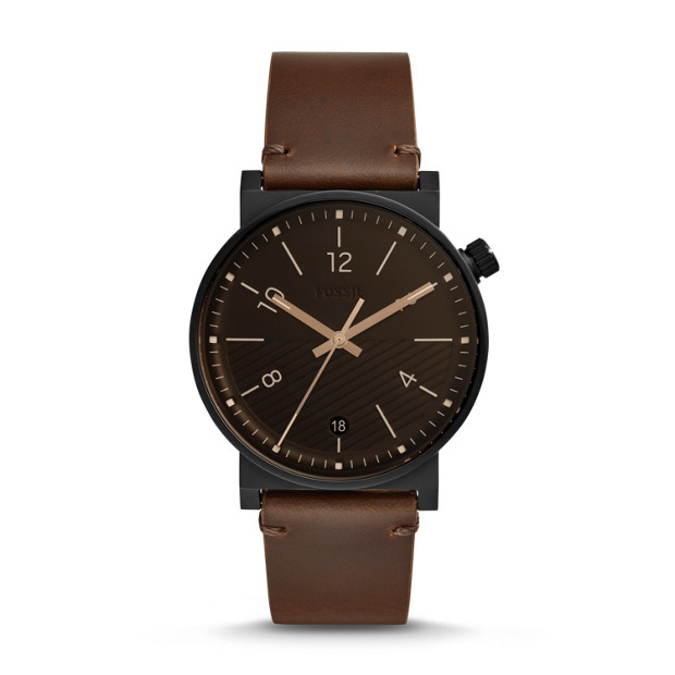 0ce82f68c Barstow Three-Hand Date Brown Leather Watch - Fossil