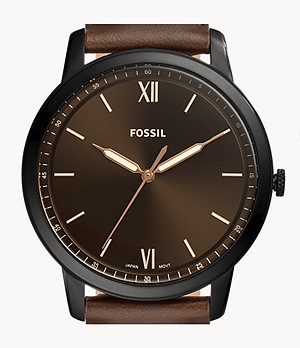 Minimalist Three-Hand Brown Leather Watch and Bracelet Box Set