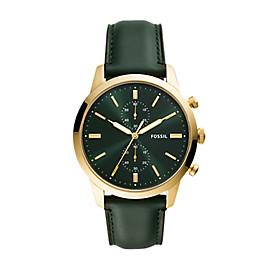 Townsman 44mm Chronograph Dark Green Leather Watch