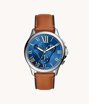 Monty Chronograph Luggage Leather Watch