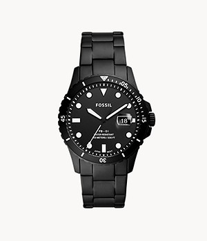 FB-01 Three-Hand Date Black Stainless Steel Watch