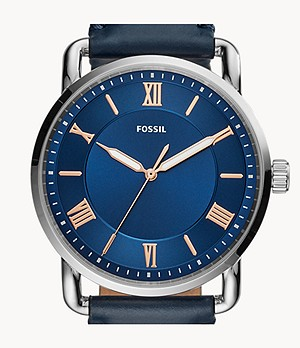Copeland 42mm Three-Hand Navy Leather Watch