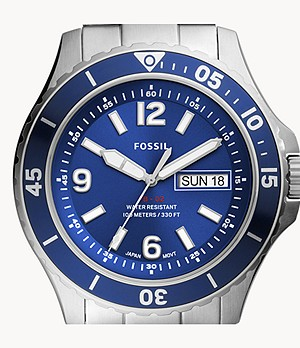 FB-02 Three-Hand Date Stainless Steel Watch