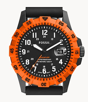 FB-Adventure Three-Hand Date Black Silicone Watch