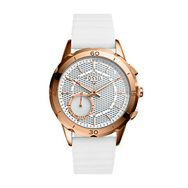 Montre connectée hybride - Fossil Q Modern Pursuit en silicone blanc