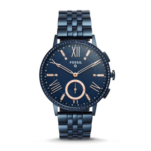 damen hybrid smartwatch q gazer edelstahl blau fossil. Black Bedroom Furniture Sets. Home Design Ideas