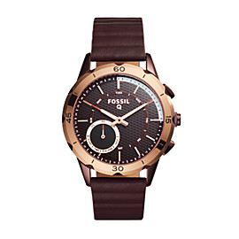 Hybrid Smartwatch - Q Modern Pursuit Wine Leather
