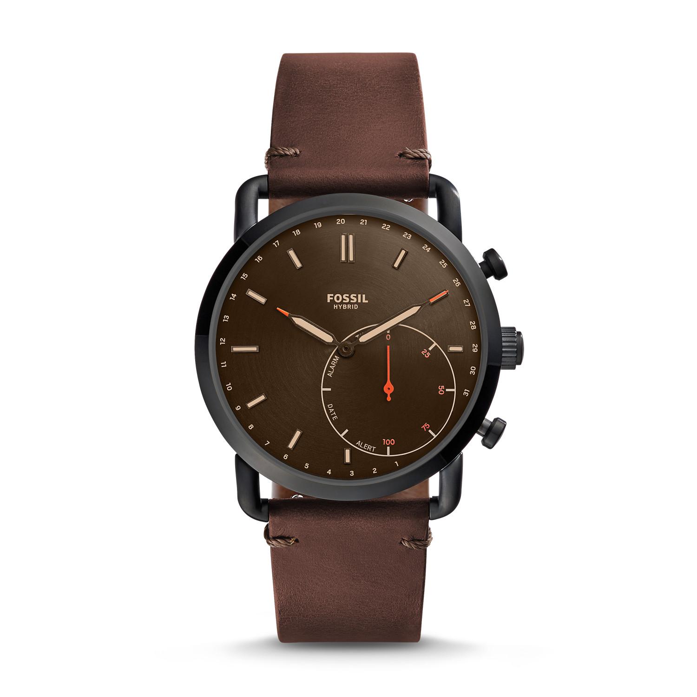 Hybrid Smartwatch Commuter Dark Brown Leather Fossil