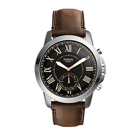 Hybrid Smartwatch - Q Grant Dark Brown Leather