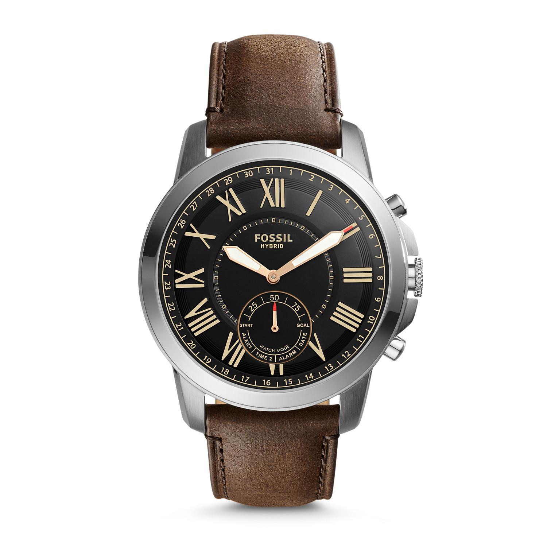Hybrid Smartwatch - Q Grant Dark Brown Leather