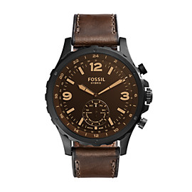 Hybrid Smartwatch - Q Nate Dark Brown Leather