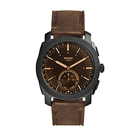 Hybrid Smartwatch – Q Machine Dark Brown Leather