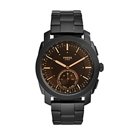 Montre intelligente hybride – Fossil Q Machine en acier inoxydable noir