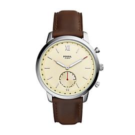 Smartwatch ibrido - Neutra con cinturino in pelle marrone
