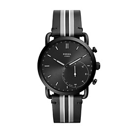 Hybrid Smartwatch - Commuter Black Stripe Leather