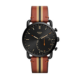 Hybrid Smartwatch – Commuter Luggage Stripe Leather
