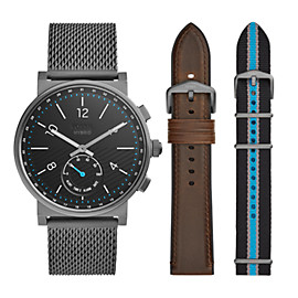 Hybrid Smartwatch - Barstow Smoke Stainless Steel Mesh Interchangeable Strap Box Set