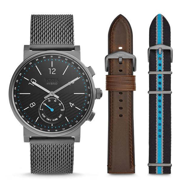 901826a81 Hybrid Smartwatch - Barstow Smoke Stainless Steel Mesh Interchangeable Strap  Box Set
