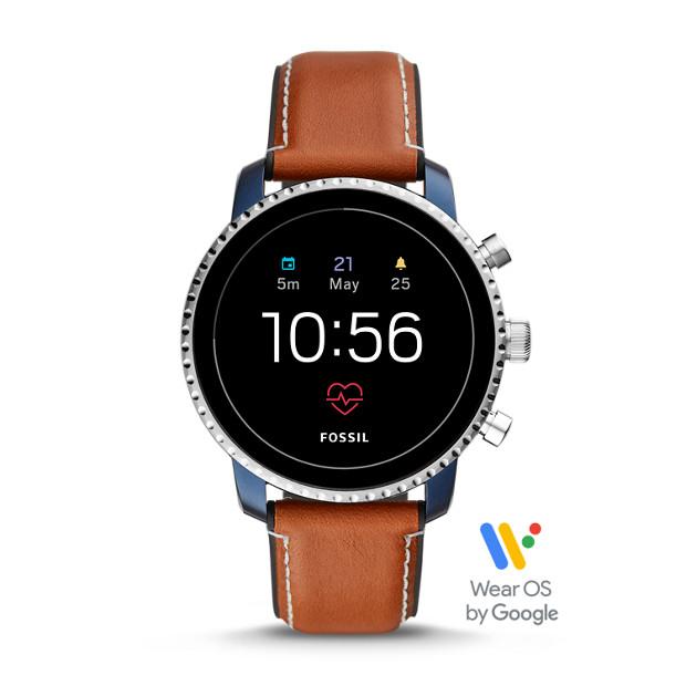 bcc4cca412233 Herren Smartwatch Q Explorist HR - 4. Generation - Leder - Hellbraun ...
