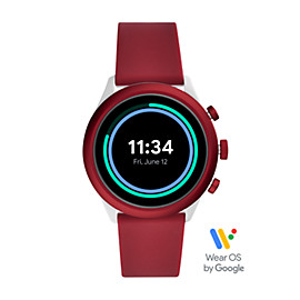 Montre intelligente sport Fossil de 43 mm en silicone rouge