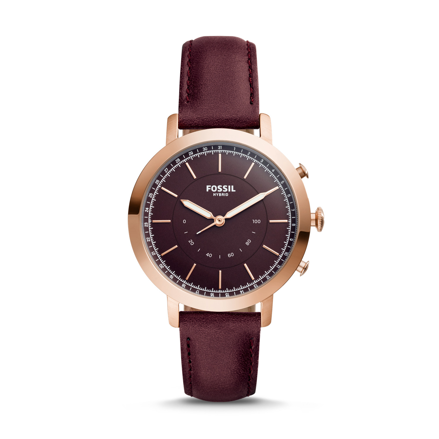 hybrid smartwatch q neely cabernet leather fossil