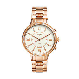 Montre connectée hybride - Fossil Q Virginia en acier inoxydable or rose