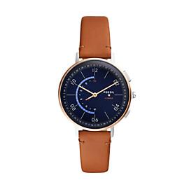 Damen Hybrid Smartwatch Q Harper - Leder - Hellbraun