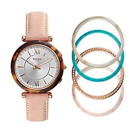 Hybrid Smartwatch – Carlie Blush Leather Interchangeable Bezel Box Set