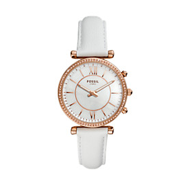 Hybrid Smartwatch – Carlie White Leather