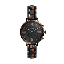 Hybrid Smartwatch - Jacqueline Two-Tone Black and Tortoise Stainless Steel