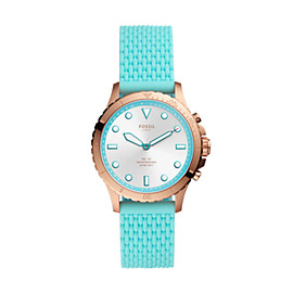 Montre intelligente hybride FB-01 en silicone turquoise