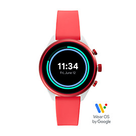 Montre intelligente Sport Fossil - 41 mm en silicone rouge