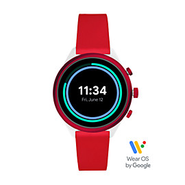 Montre intelligente sport Fossil de 41 mm en silicone rouge