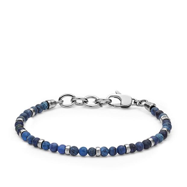 5a2f6497731c Bracciale casual vintage con perline blu - Fossil