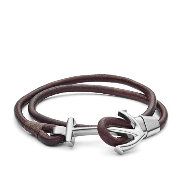 Anchor Brown Leather Wrist Wrap Fossil