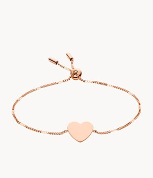 Heart Rose Gold-Tone Steel Bracelet
