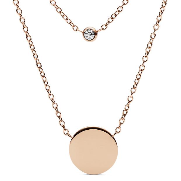 1c7500a939d Engravable Double Glitz Rose Gold-Tone Steel Necklace - Fossil