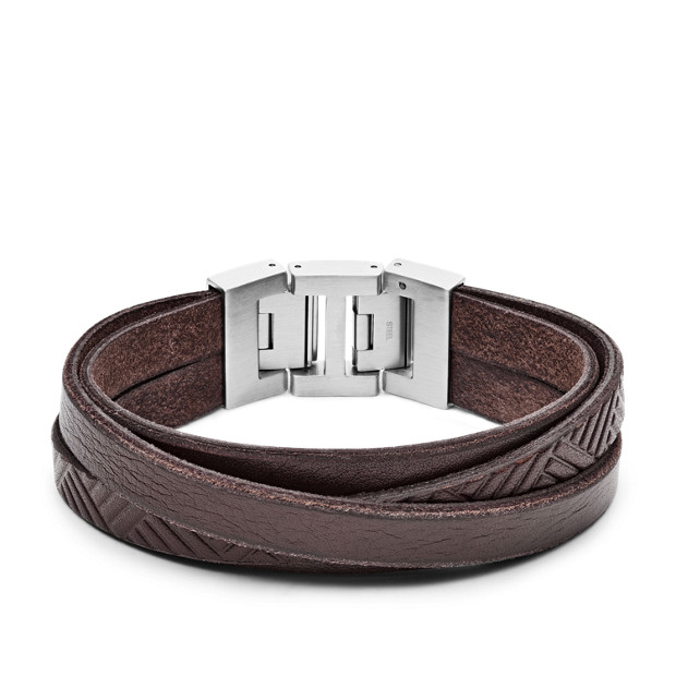 Textured Brown Leather Wrist Wrap Fossil