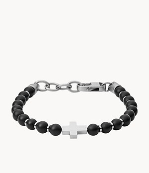 Black Agate and Stainless Steel Beaded Bracelet